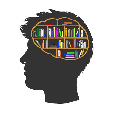 Man with books library in brain vintage sketch engraving vector illustration. Metaphor of knowledge and erudition. T-shirt apparel print design. Scratch board imitation. Illustration