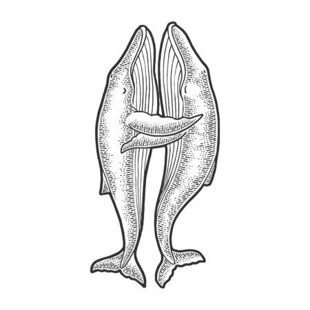 Whales love couple hug sketch vector illustration