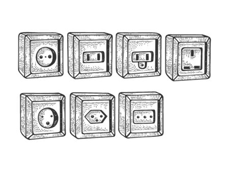 Power sockets of different countries sketch engraving vector illustration. T-apparel print design. Scratch board style imitation. Black and white hand drawn image.