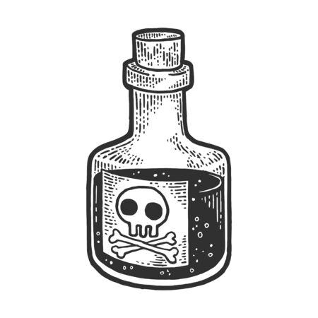 Poison venom bottle with skull and crossbones sketch engraving vector illustration. T-shirt apparel print design. Scratch board style imitation. Black and white hand drawn image. Illusztráció