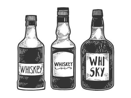 Whisky whiskey bottles flasks sketch engraving vector illustration. T-shirt apparel print design. Scratch board style imitation. Black and white hand drawn image. Reklamní fotografie - 131464969