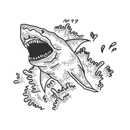 Shark jumps out of water and opens its mouth sketch engraving vector illustration. T-shirt apparel print design. Scratch board style imitation. Black and white hand drawn image. Иллюстрация