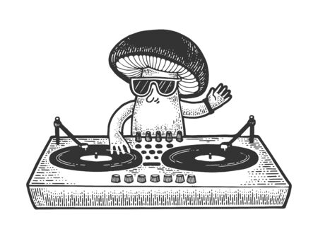 Cartoon mushroom DJ sketch engraving vector illustration. T-shirt apparel print design. Scratch board style imitation. Black and white hand drawn image. Illusztráció