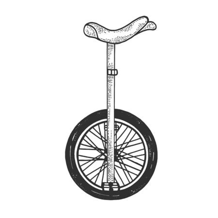 Unicycle bicycle sketch engraving vector illustration. Tee shirt apparel print design. Scratch board style imitation. Hand drawn image. 向量圖像
