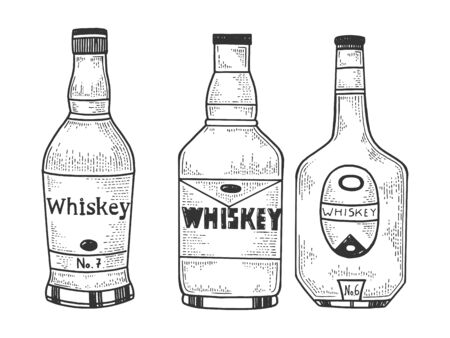 Whiskey bottles flasks sketch engraving vector illustration. T-shirt apparel print design. Scratch board style imitation. Black and white hand drawn image. Banque d'images - 131857091