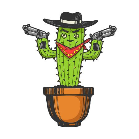 Cartoon mexican cactus character gangster bandit with pistol revolver guns engraving sketch vector illustration. T-shirt apparel print design. Scratch board imitation. Black and white image.