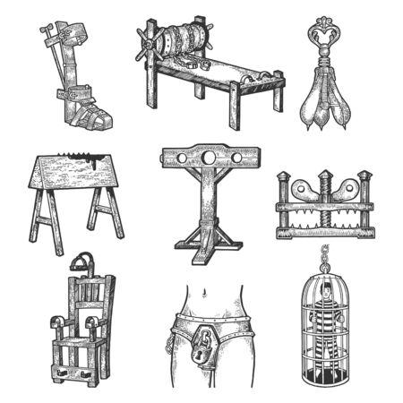 Dispositivo de tortura medieval establece boceto grabado ilustración vectorial. Diseño de impresión de ropa de camiseta. Imitación de tablero de rascar. Imagen dibujada a mano. Ilustración de vector