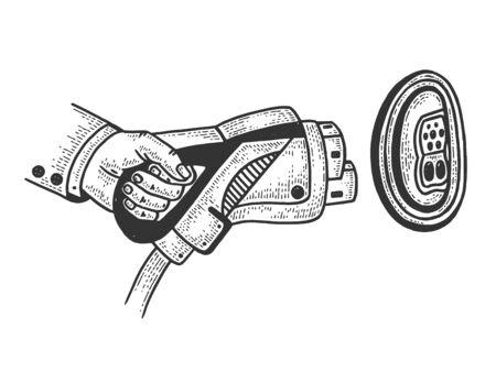 Electric car charging plug sketch engraving vector illustration. T-shirt print design. Scratch board style imitation. Black and white hand drawn image. Ilustração