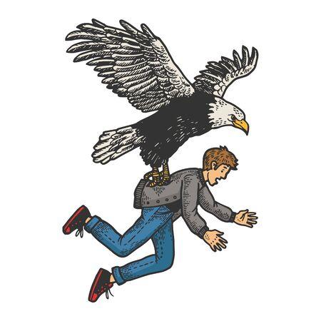 El pájaro de rapiña del águila secuestra a la persona humana boceto grabado ilustración vectorial. Diseño de impresión de ropa de camiseta. Imitación de tablero de rascar. Imagen dibujada a mano en blanco y negro.