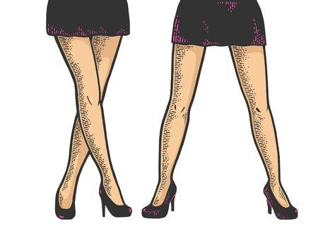 Młoda kobieta nogi w skrócie mini spódniczka szkic Grawerowanie ilustracji wektorowych. Projekt nadruku odzieży T-shirt. Imitacja stylu drapaka. Czarno-biały obraz narysowany ręcznie. Ilustracje wektorowe