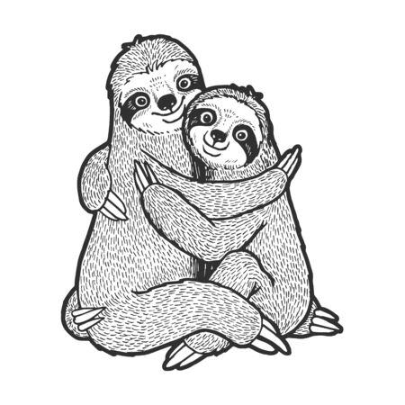 Bradipo amore coppia abbraccio schizzo incisione illustrazione vettoriale. Design con stampa di abbigliamento t-shirt. Imitazione di stile scratch board. Immagine disegnata a mano in bianco e nero.