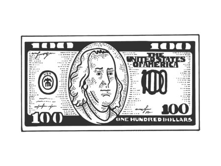 One hundred USA dollars cash walks on its feet sketch engraving vector illustration. T-shirt apparel print design. Scratch board style imitation. Black and white hand drawn image.