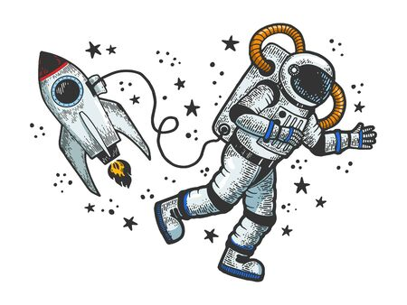 Astronaut in spacesuit flies at open space near spaceship rocket sketch engraving vector illustration. T-shirt apparel print design. Scratch board style imitation. Black and white hand drawn image.