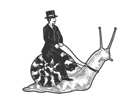 Old fashioned gentleman riding snail sketch engraving vector illustration. T-shirt apparel print design. Scratch board style imitation. Black and white hand drawn image. Ilustração