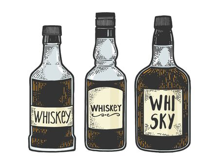 Whisky whiskey bottles flasks sketch engraving vector illustration. T-shirt apparel print design. Scratch board style imitation. Black and white hand drawn image.