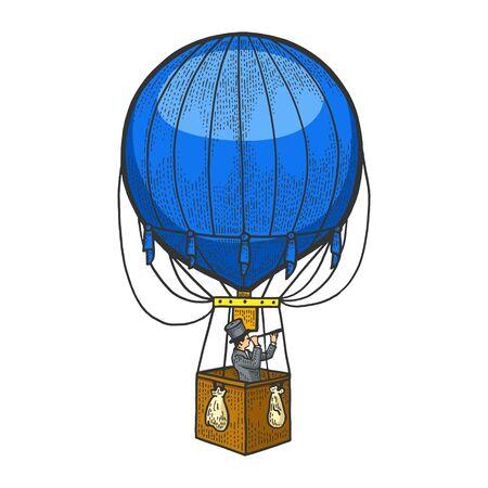 Gentleman looks in telescope in basket of air balloon. Vintage aerostat transport sketch vector illustration. T-shirt apparel print design. Scratch board engraving style imitation. Illustration