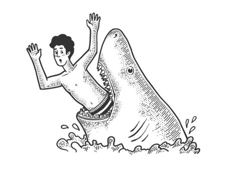 Big shark eat man sketch engraving vector illustration. T-shirt apparel print design. Scratch board style imitation. Black and white hand drawn image. 向量圖像