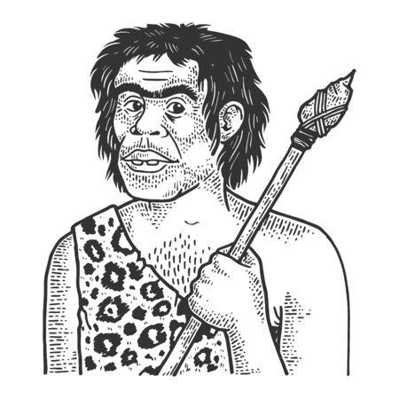 Primitive caveman human sketch engraving vector illustration. T-shirt apparel print design. Scratch board style imitation. Black and white hand drawn image.