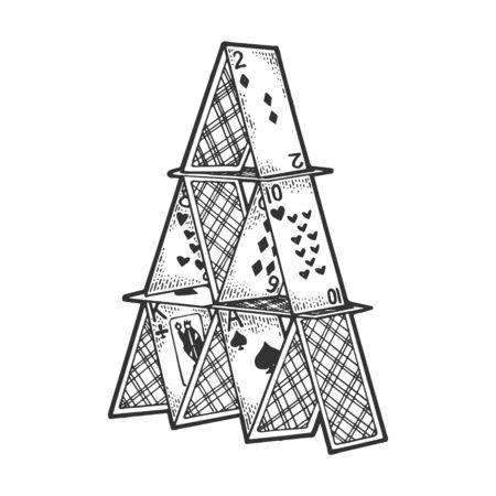 Card tower house of cards sketch sketch engraving vector illustration. Scratch board style imitation. Black and white hand drawn image.