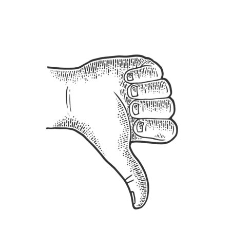 Thumb down hand gesture sketch engraving vector illustration. Scratch board imitation. Black and white hand drawn image.
