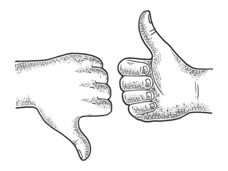 Thumb down and up recommend hand gesture sketch engraving vector illustration. Recommend. Scratch board imitation. Black and white hand drawn image. Stock Illustratie