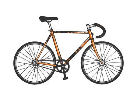 Track bike sport bicycle sketch engraving vector illustration. T-shirt apparel print design. Scratch board style imitation. Hand drawn image.