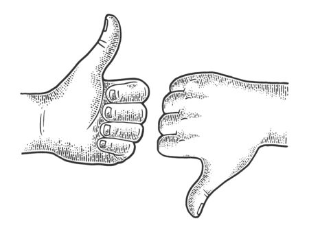 Thumb up and down recommend hand gesture sketch engraving vector illustration. Recommend. Scratch board imitation. Black and white hand drawn image.
