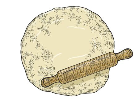 Rolling pin and dough sketch engraving vector illustration. Cooking bread bakery product. T-shirt apparel print design. Scratch board style imitation. Black and white hand drawn image.