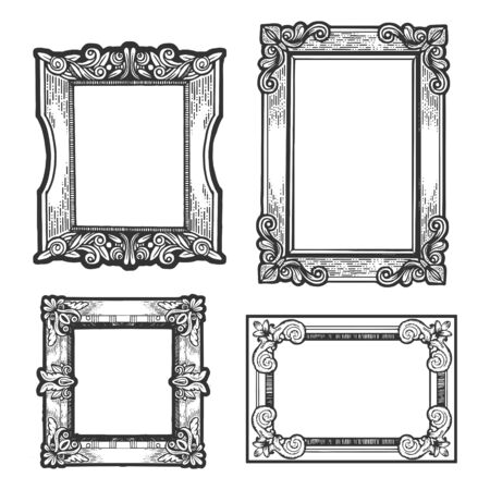 Vintage picture frames set sketch engraving vector illustration. T-shirt apparel print design. Scratch board imitation. Black and white hand drawn image. Ilustração