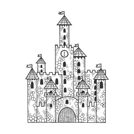 Fairytale medieval castle sketch engraving vector illustration. T-shirt apparel print design. Scratch board imitation. Black and white hand drawn image.  イラスト・ベクター素材