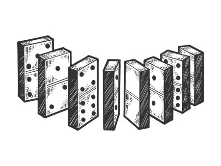 Domino bones line chain sketch sketch engraving vector illustration. Scratch board style imitation. Black and white hand drawn image. Vettoriali