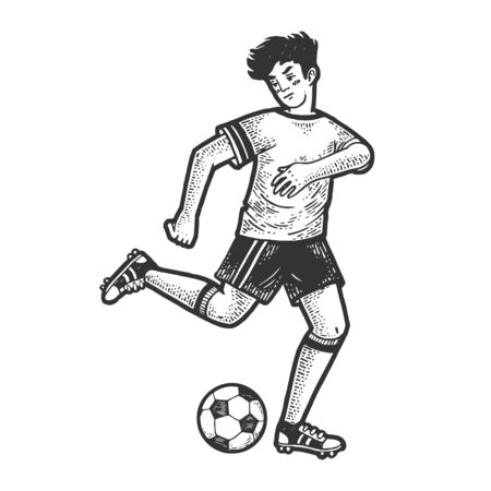 Soccer player with ball sketch engraving vector illustration. T-shirt apparel print design. Scratch board imitation. Black and white hand drawn image. Standard-Bild - 133351767