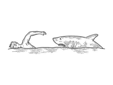 Shark chasing swimming man sketch engraving vector illustration. T-shirt apparel print design. Scratch board style imitation. Black and white hand drawn image. Standard-Bild - 133351769