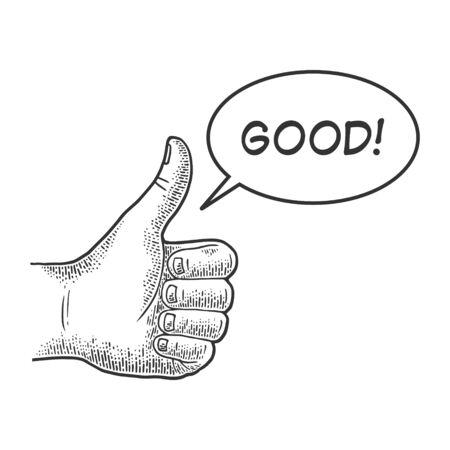Pollice in su Buona mano gesto schizzo incisione illustrazione vettoriale. Consiglia. Imitazione di scratch board. Immagine disegnata a mano in bianco e nero.