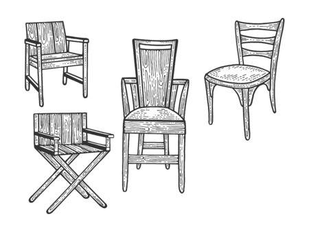 Silla set dibujo grabado ilustración vectorial. Imitación de tablero de rascar. Imagen dibujada a mano.