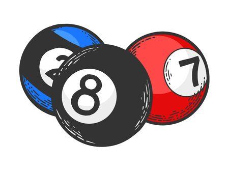 Billiard pool balls ivories engraving vector illustration. T-shirt apparel print design. Scratch board style imitation. Black and white hand drawn image. Illustration