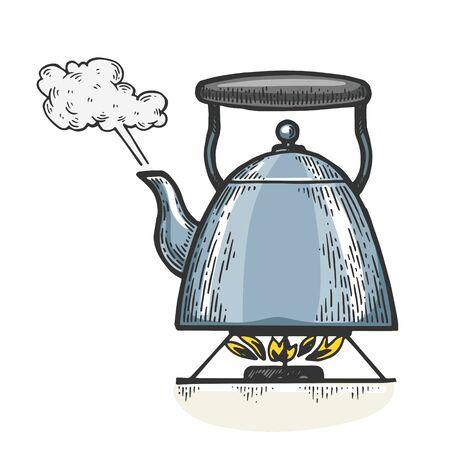 Boiling kettle teapot engraving vector illustration. T-shirt apparel print design. Scratch board style imitation. Black and white hand drawn image. Standard-Bild - 133351860