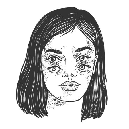 Four eyes girl sketch engraving vector illustration. T-shirt apparel print design. Scratch board style imitation. Black and white hand drawn image. Standard-Bild - 133351861
