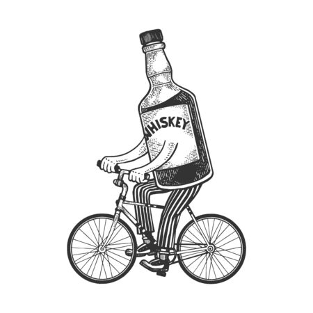 Whiskey bottle rides bicycle sketch engraving vector illustration. T-shirt apparel print design. Scratch board style imitation. Black and white hand drawn image. Illusztráció