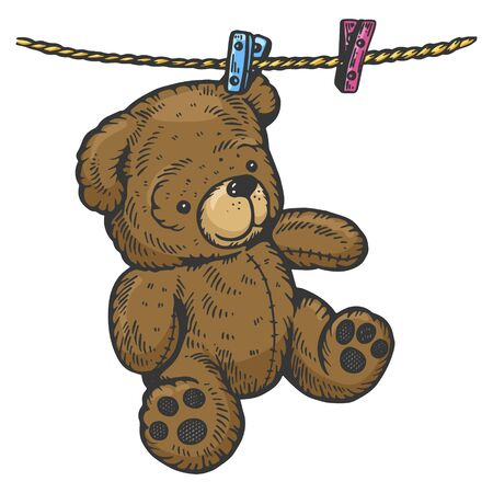Teddy bear drying on rope sketch engraving vector illustration. Scratch board style imitation. Black and white hand drawn image.
