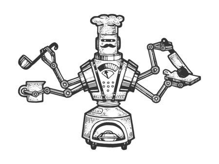 Robot Cook Chef sketch engraving vector illustration. T-shirt apparel print design. Scratch board style imitation. Black and white hand drawn image. Standard-Bild - 133321132