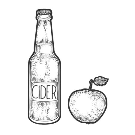 Cider bottle and apple fruit sketch engraving vector illustration. T-shirt apparel print design. Scratch board style imitation. Black and white hand drawn image.