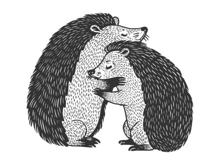 Hedgehog love couple hug sketch engraving vector illustration. T-shirt apparel print design. Scratch board style imitation. Black and white hand drawn image.