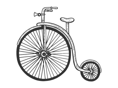 Penny farthing high wheel bicycle sketch engraving vector illustration. T-shirt apparel print design. Scratch board style imitation. Hand drawn image.