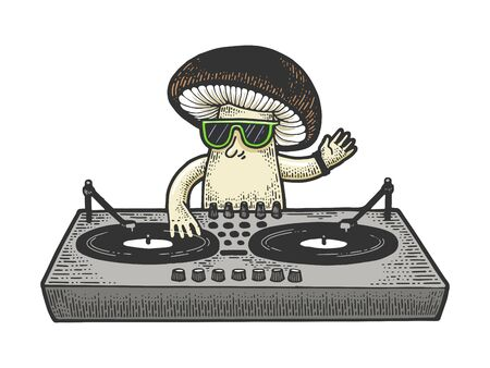 Cartoon mushroom DJ sketch engraving vector illustration. T-shirt apparel print design. Scratch board style imitation. Black and white hand drawn image. Illustration