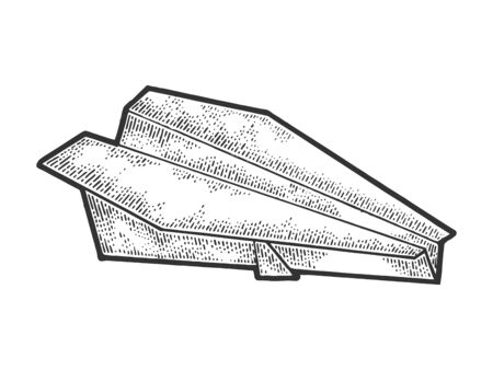 Paper plane sketch engraving vector illustration. T-shirt apparel print design. Scratch board style imitation. Black and white hand drawn image.