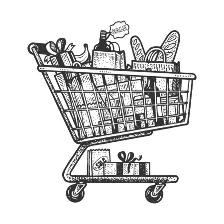Shopping cart with products sketch engraving vector illustration. T-shirt apparel print design. Scratch board style imitation. Black and white hand drawn image. Stock Illustratie