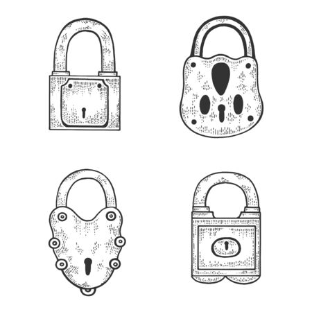 Vintage padlock set sketch engraving vector illustration. T-shirt apparel print design. Scratch board imitation. Black and white hand drawn image. 矢量图像
