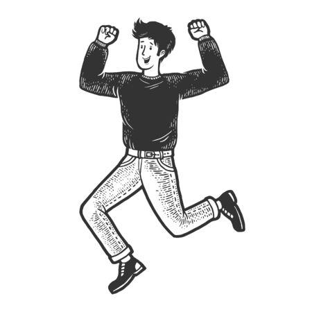 Happy jumping dancing man sketch engraving vector illustration. T-shirt apparel print design. Scratch board style imitation. Black and white hand drawn image. Векторная Иллюстрация
