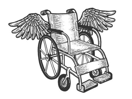 Wheelchair with wings sketch engraving vector illustration. T-shirt apparel print design. Scratch board style imitation. Black and white hand drawn image.